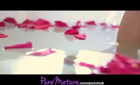 PureMature French fine Mom Seduced In Rose Petal Bath