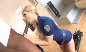 Tight police officer knows how to treat a meat!