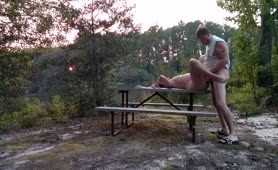 Milf Becky Tailor gets drilled on a picnic table down by the river.