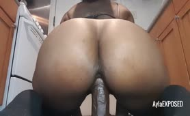 Riding My meaty ebony Dildo