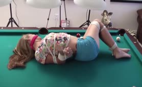 Sasha Fae tied up on pool table
