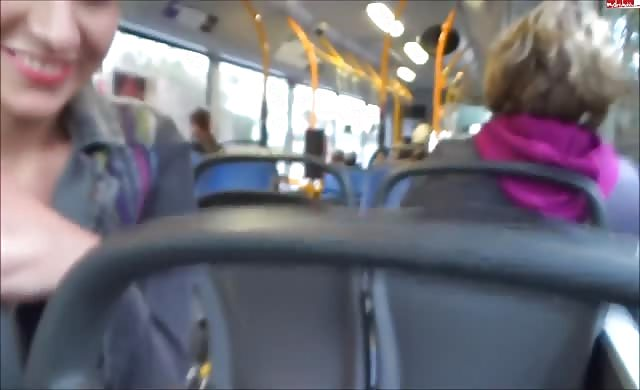 Public bus blowjob from two girls