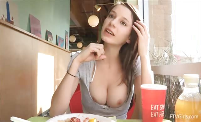 Rilee marks shows off perfect titties in restaurant