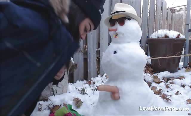young Gets plowed By Snowman