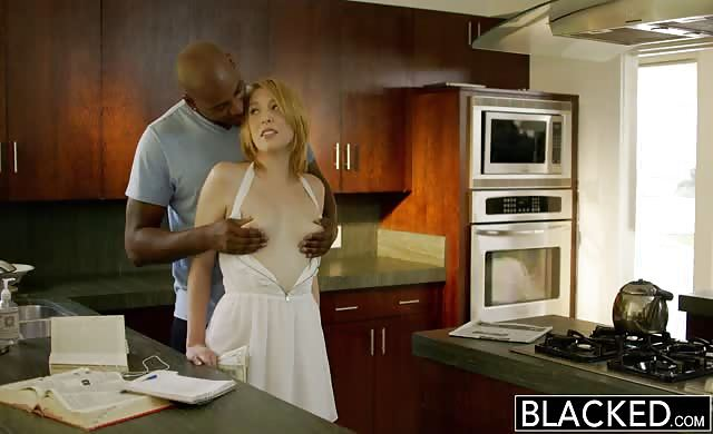 Blacked blondy Babysitter Trillium fucks Her ebony Boss