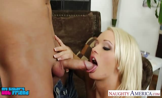 Chesty Blond Babe Emily Austin lick A gigantic cock