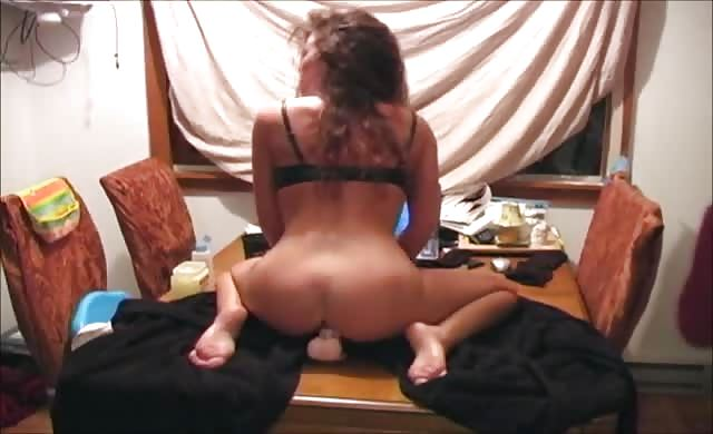 Hot wifey rides Dildo On Kitchen Table